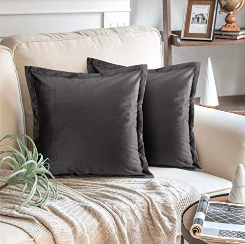 Adam Home Velvet Cushion Covers with Invisible Zipper 18x18 Inch (45x45 cm) Decorative Throw Pillow Cases for Sofa, Bedroom, Couch, Office (Charcoal Pack of 2)