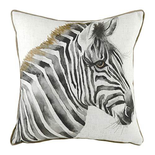 Evans Lichfield Safari Zebra Cushion Cover, White, 43 x 43cm