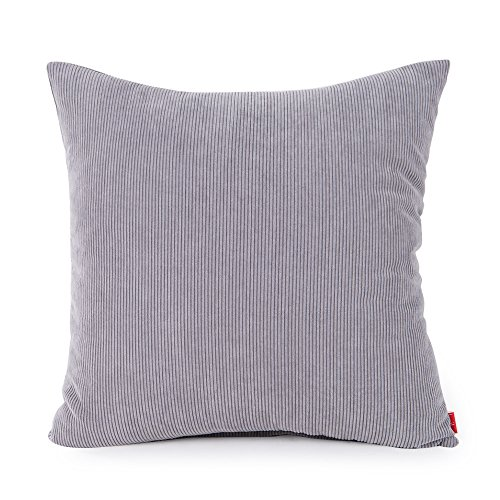 baibu Corduroy Decor Solid Pillow Cover, Multi Size Cushion Cover for Sofa Light Grey 35x35 cm/14x14 inch