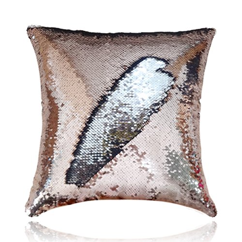 San Tungus 14 Inch x 14 Inch Reversible Sequin Pillow Case Decorative Mermaid Pillow Cover Color Changing Cushion Throw Pillowcase Without Insert,Rose Gold and Silver