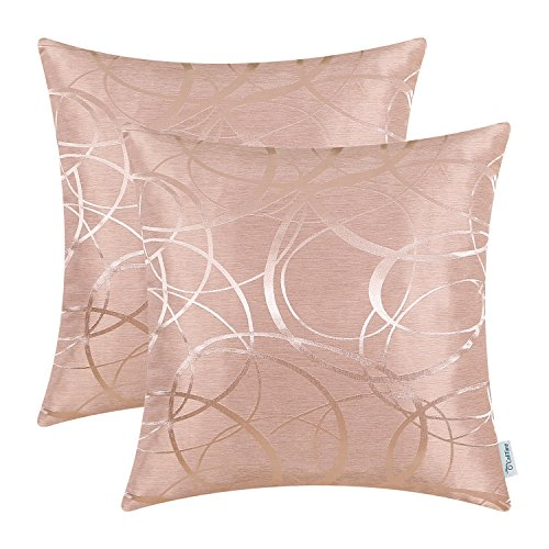 CaliTime Cushion Covers Pack of 2 Throw Pillow Cases Shells for Couch Sofa Home Decor Modern Shining & Dull Contrast Circles Rings Geometric 40cm x 40cm Dusty Pink