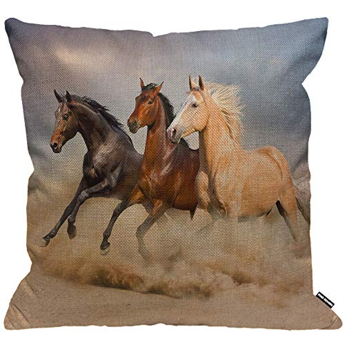 HGOD DESIGNS Cushion Cover Horses Run in The Wild Wind Sand,Throw Pillow Case Home Decorative for Men/Women Living Room Bedroom Sofa Chair 18X18 Inch Pillowcase 45X45cm