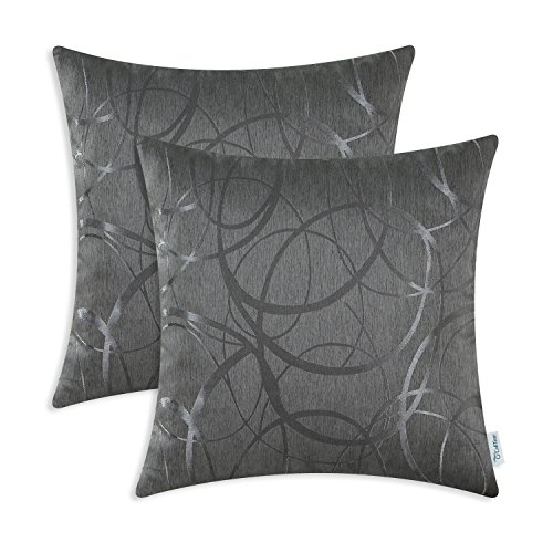 CaliTime Cushion Covers Pack of 2 Throw Pillow Cases Shells for Couch Sofa Home Decor Modern Shining & Dull Contrast Circles Rings Geometric 50cm x 50cm Grey