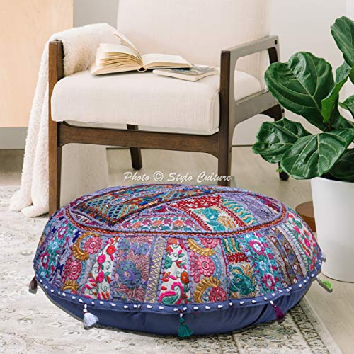 Stylo Culture Ethnic Bohemian Floor Pillow Lounger Scatter Cushion Cover Grey 80x80 cm Vintage Patchwork Round Giant 32 Inch Living Room Cotton Embroidered Sitting Furniture Cover