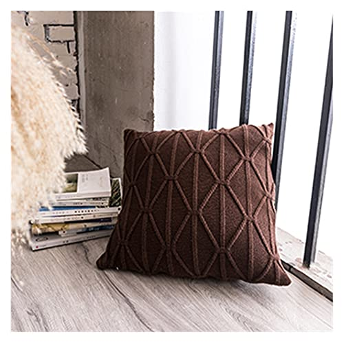 XIAOFANG Knit Cushion Cover Soft Knitted 45x45cm Brown Grey Ivory Pillow Cover Nordic Style Grey Ivory Coffee 45x45cm Home Decoration (Color : Coffee)