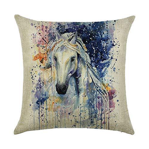 SK Studio 18' Pillowcases Sofa Bed Home Car Decor Throw Pillow Case Cushion Cover Horse Style B 2 Packs