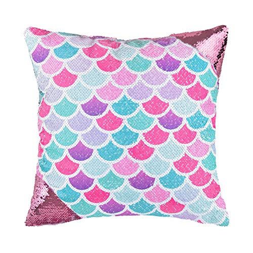 """WERNNSAI Mermaid Scale Pillow Cover - 16"""" × 16"""" Pink Sequins Throw Pillow Cases Birthday Xmas Gift Decorative Cushion Covers for Sofa Couch Bed Car(NO Pillow Inserts)"""