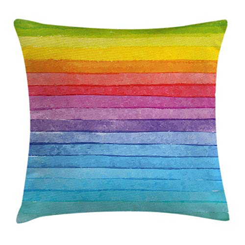Proud Clothing Abstract Decor Throw Pillow Cushion Cover, Rainbow Colored Horizontal Striped Lines Bright Hand Drawn Artistic Cute Design, Decorative Square Accent Pillow Case, 18X18 Inches, Multi