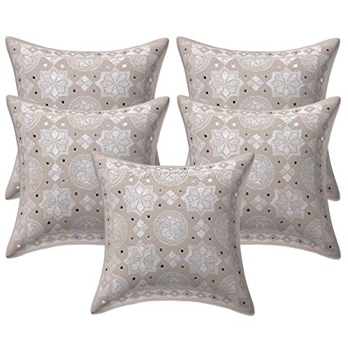 DK Homewares Cotton Decorative Indian Bohemian Cushion Covers 16 x 16 Inch inches Off White Mirrored Star Moon Embroidered Square Pillow Covers 40 cm x 40 cm Chair Seat Cushion Covers (Set Of 5)