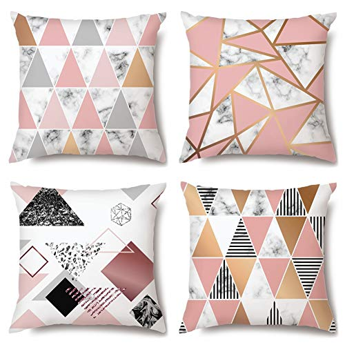 Artscope Cushion Covers, 45 x 45 cm Square High Grade Polyester Microfiber Decorative Pillowcases, Throw Pillow Covers for Sofa Car Bedroom, 4 Pack (Pink Gold Triangle Geometry)
