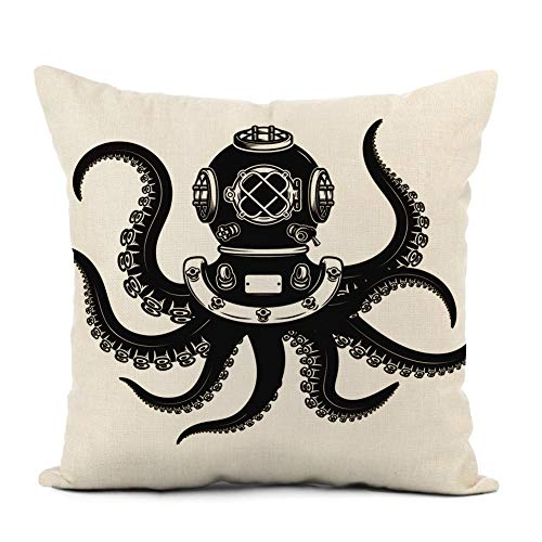 Awowee Linen Cushion Cover 45x45cm Diver Helmet with Octopus Tentacles on White Design Elements for Poster Dive Deep Home Decor Throw Pillow Cover Square Pillowcase for Bed Sofa