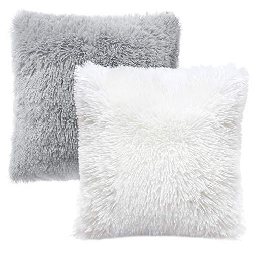 KONUNUS 2 Pack Fluffy Cushion Covers Faux Fur Plush Throw Pillow Covers Fluffy Soft Pillow Case Square for Livingroom Bedroom Sofa Grey White 45cm x 45cm (18 x 18Inch)