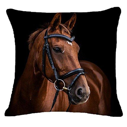 HUHU833 45cm*45cm Pillow Case, Creative Pillow Fashion Cartoon Animal Horse Home Decor Cotton Linen Cushion (Horse C)