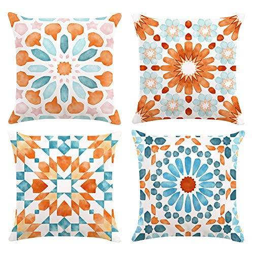 Bonhause Boho Geometric Morrocan Cushion Covers 18 x 18 Inch Set of 4 Mandala Floral Decorative Throw Pillow Covers Soft Velvet Pillowcases for Sofa Couch Car Bedroom Indoor Outdoor Decor, 45cm x 45cm