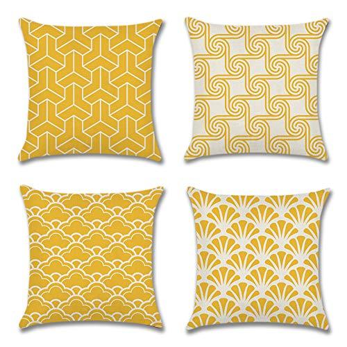 Artscope Mordern Simple Geometric Style Cushion Cover 45 x 45 cm Square Pillowcase Polyester Linen Throw Pillow Covers for Car Sofa Home Decor Set of 4 (Yellow)