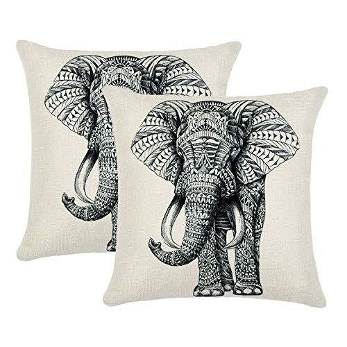 Jahosin Set of 2 Throw Pillow Covers 45x45cm,Decorative Elephant Cushion Case (Sketch Elephant)