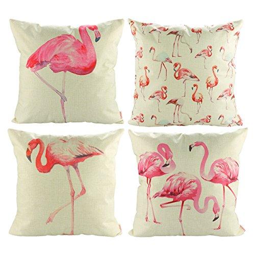 Luxbon Set of 4 Pcs Tropical Flamingo Decorative Cushion Covers 18x18 Animal Sofa Throw Pillowcase 45x45cm Cotton Linen Cushion Case Covers Home Garden Decors