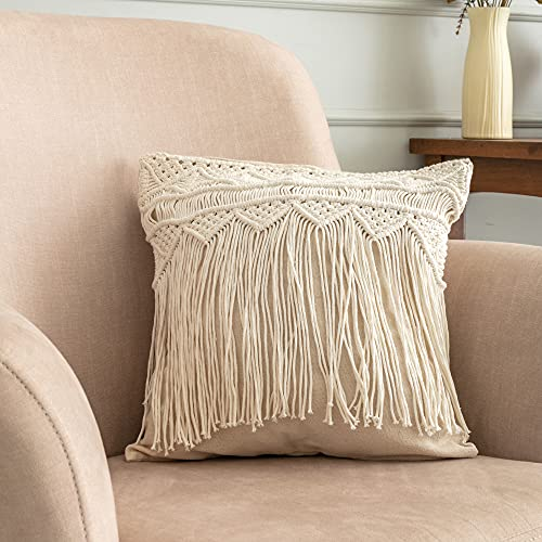Macrame Cushion Covers 2-Pack Boho Square Pillowcases - Woven Square Throw Pillow Case Natural Decorative Cotton Tassels | Indian Vintage Rustic Retro Sofa Couch Bedroom Living Room (Vintage Basic)