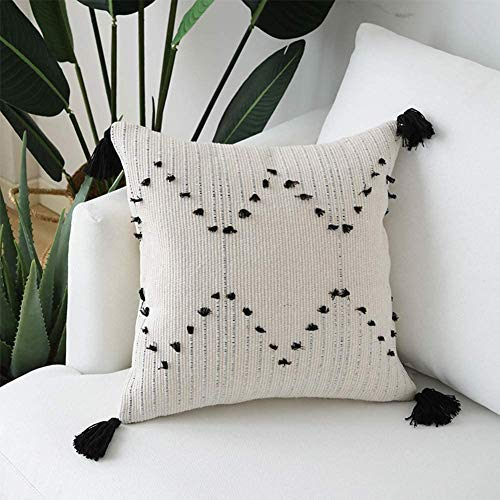 hi-home Boho Cushion Cover Decorative Pillow Cases 30x50cm Rectangle Throw Pillow Covers with Tassel Modern Woven Pillowcase for Couch Sofa Bedroom Livingroom (Black and Cream) (45x45cm, style1)