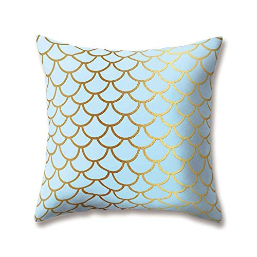 Hengjiang WEIANG Soft Plush Geometric Cushion Covers Simulated 3D Flake Mermaid Scales Fish Printing 18x18/45x45cm Throw Soft Plain Pillow Cases For Home Sofa Bed Decorative