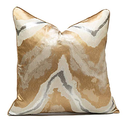 Gold Cushion Cover Decorative Square Unique Gold Pillow Cases Home Decor for Sofa Outdoor Bedroom living room Terrace Chair With Invisible Zipper 45 x 45 cm 18 x 18 Inch (gold)