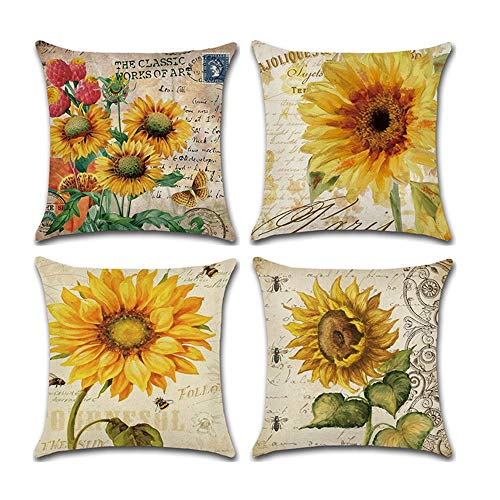 COWORK Set of 4 Vintage Sunflower Cushion Cover Cotton Linen Throw Pillow Case Decorative Sofa Square Pillowcase for Home Deco Favor, 18 x 18 inch / 45 x 45 cm with Invisible Zipper