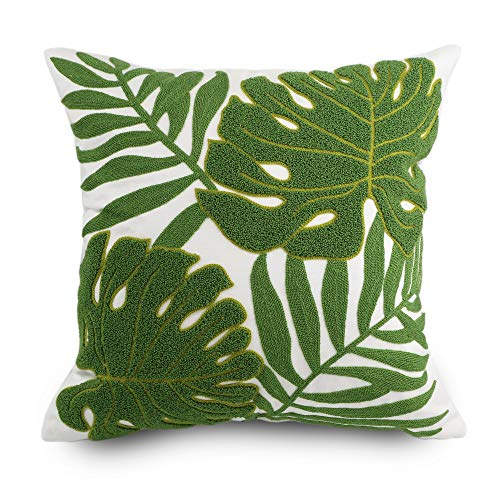 Hodeco Decorative Throw Pillow Covers 18x18 Tropical Green Leaves Embroidery Floor Pillow Cover for Sofa 100% Cotton Cushion Cover Pillow Case Plant Monstera Leaf Loop Embroidered 45x45cm, 1 Piece