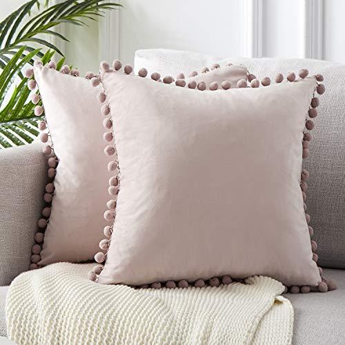 Topfinel Blush Pink Velvet Cushion Covers 24x24 Inch Large Square Decorative Throw Pillowcases for Livingroom Sofa Bedroom 60cmx60cm,Pack of 2