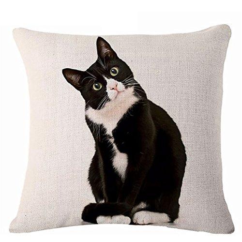 Glareshop Cat Print Linen Pillow Case Cushion Throw Cover Home Sofa Cafe Decor