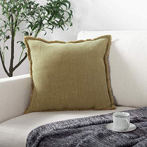 ATLINIA Linen Cushion Covers 20 x20 Inch Soft Square Decorative Fringed Throw Pillowcase for Livingroom Sofa Bedroom 50cmx50cm Green