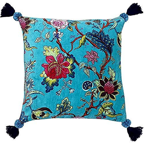 Riva Paoletti Tree Of Life Cushion Cover - Kingfisher Blue - Floral Chinoiserie Print - Pompom Tassel Corners - Machine Washable - 100% Cotton - 50 X 50Cm (20' X 20' Inches) - Designed In The UK