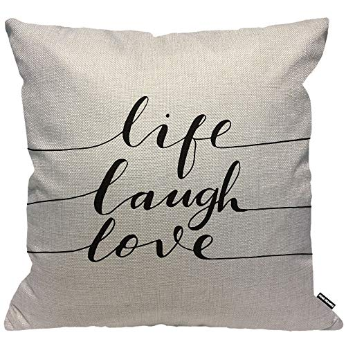 HGOD DESIGNS Cushion Cover Quotes Life Laugh Love Word Inspiration Lettering Black White Throw Pillow Cover Home Decorative for Men/Women/Boys/Girls living room Bedroom Sofa 18X18 Inch Pillowcase