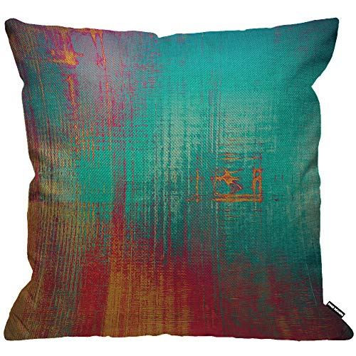 HGOD DESIGNS Abstract Cushion Cover,Vintage Feeling Aged Texture with Color Blue Cyan Yellow Red Purple Pink Throw Pillow Case for Living Room Bedroom Sofa Chair 18X18 Inch Pillowcase 45X45cm