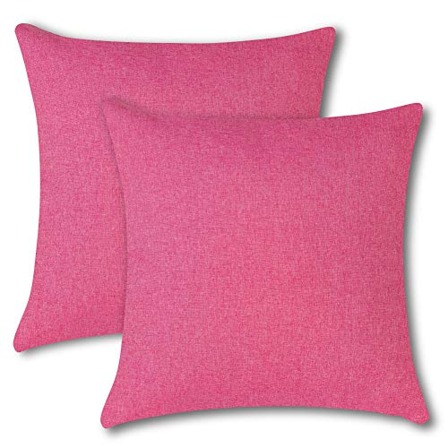 Artscope Pack of 2, Outdoor Waterproof Polyester Decorative Cushion Covers for Couch Sofa Bed Balcony Patio, 45cm x 45cm Square Solid Color Pillow Covers Pillowcases with Invisible Zippe (Rose Red)