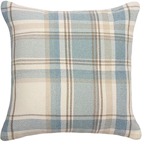 Quality Soft Tartan Check Plaid Cushion Covers Perfect As Bedroom or Living Room Accessories Duck Egg Blue 43x43cm Heritage Range By McAlister Textiles