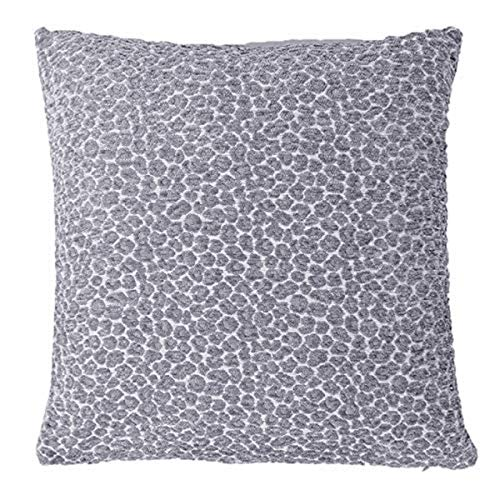 Riva Paoletti Leo Cushion Cover Chenille Leopard Print Design-100% Polyester-45 x 45cm inches), Polyester, Silver, 45 x 45cm (18' x 18')