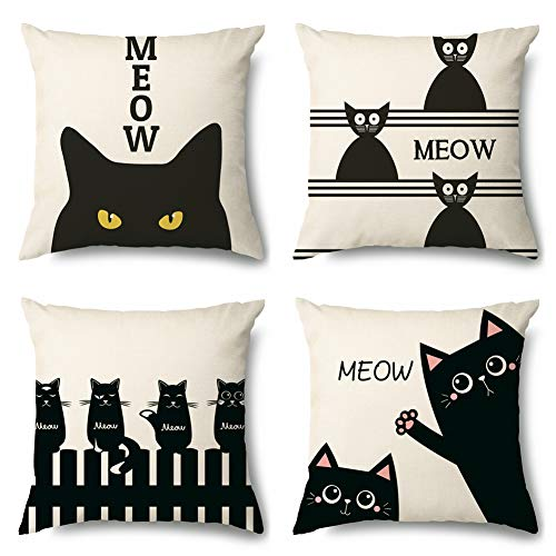 Artscope Cushion Cover Set of 4 Decorative Square Pillowcase Pillow Cover 45x45cm for Home Decor Sofa Bedroom Car (Cat, Covers)