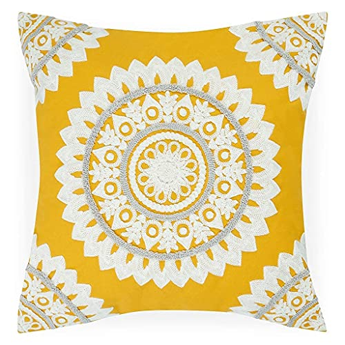 bāja london 1Pcs Mustard Yellow Mandala Cushion Cover Boho 18x18 Inch Ochre Throw Pillow Bohemian Textured Embroidered Indian Floral Ethnic Moroccan Decorative Square Pillowcase Sofa Couch Bed 45x45cm