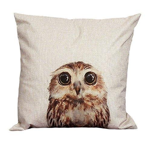 MEIbax Pillow case, Vintage Owl Cotton Linen Pillow Case Sofa Waist Throw Cushion Cover Home Decor