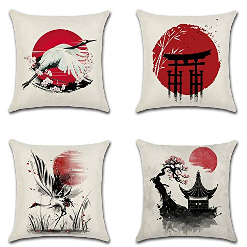 Artscope Set of 4 Japanese-Style Cushion Covers, Red Sun with Ink Painting Crane Decorative Throw Pillow Covers for Couch Bedroom Outdoor Bench Farmhouse Decor 45x45cm