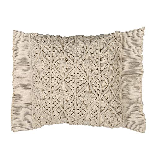 Macrame Cushion Covers - Cotton Rope Handmade Pillow Cover Square Bohemian Farmhouse Style Cable Knitted Boho Throw Pillow Cases Home Sofa Bed Living Room Chair 40x40 cm