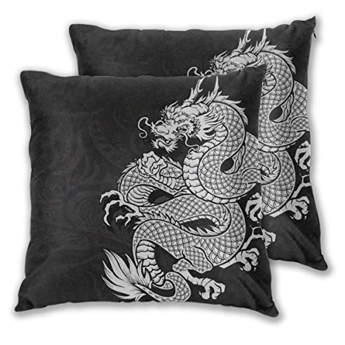 Art Fan-Design Cushion Cover Chinese Dragon White And Black Decorative Set of 2 Square Throw Pillow Case Sham Home for Sofa Chair Couch/Bedroom Decorative Pillowcases