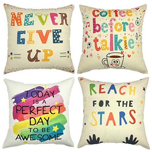 Freeas Set of 4 Inspirational Phrase Pillow Cases, Throw Cushion Cover Cotton Linen Pillowcase Home Decoration,45x45cm