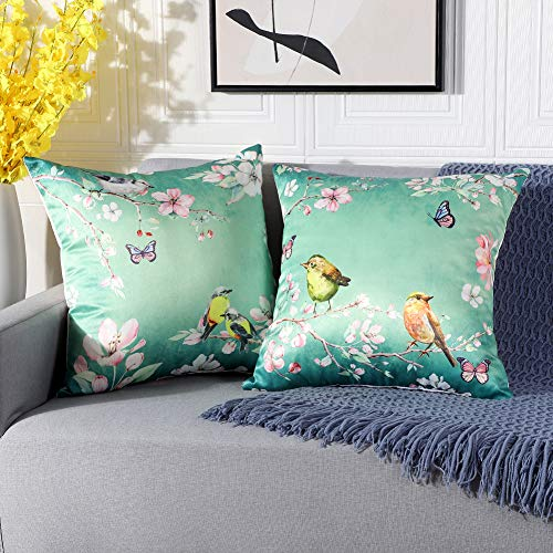 Artscope Cozy Faux Silk Cushion Covers Cases, Set of 2 Classical Bird Butterfly Flower Pattern Throw Pillow Covers for Sofa Couch Home Decor 45x45cm-Green
