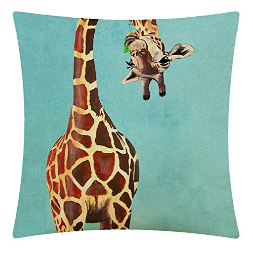 CANSEGO Funny Giraffe Licking Head Blue Throw Pillow Case, Cotton Linen Cushion Cover Square Standard Home Decorative for Sofa Bedroom Men/Women 18x18 Inch