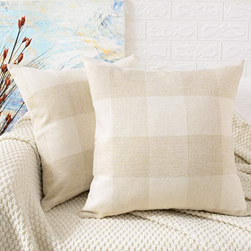MERNETTE Pack of 2, Plaid Linen Decorative Square Throw Pillow Cover Cushion Covers Pillowcase, Home Decor Decorations For Sofa Couch Bed Chair 18x18 Inch/45x45 cm (Cream+White)