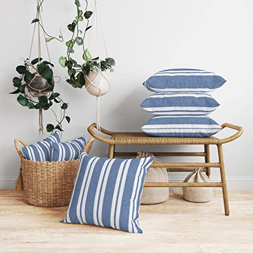 Encasa Homes Cushion Covers 2 pcs set (50 x 50 cm) - Franca Blue Stripes - Decorative Large Square Colourful Washable Eco - Cotton, Throw Pillow Cases for Living Room, Sofa, Bedroom, Home & Hotel