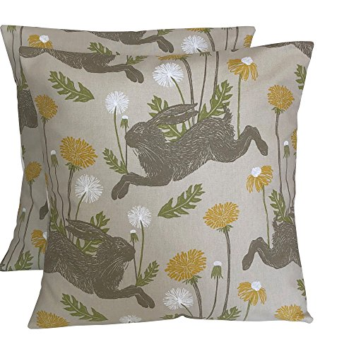 CUSHIONS2U Pack Of Two 2 x 16' x 16' (40cm x 40cm) Handmade Clarke & Clarke March Hares Linen Mustard Yellow White Brown Cushion Covers