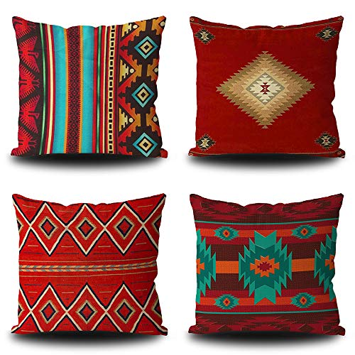 BAGEYOU Set of 4 Throw Pillow Covers Red Indian vector seamless pattern decoration Throw Pillow Cases Geometric Pattern Decorative Square 18 x 18 Inch Linen Pillowcase Double Side Print