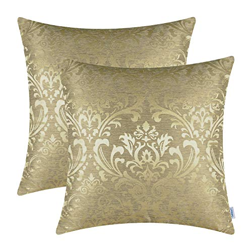 CaliTime Cushion Covers Pack of 2 Throw Pillow Covers Cases for Couch Sofa Home Decoration Vintage Damask Floral Shining & Dull Contrast 45cm x 45cm Gold